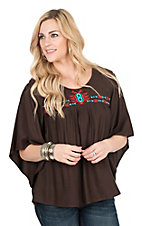 Ariat Women's Brown wtih Embroidered Yoke 3/4 Bell Sleeve Fashion Top