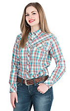 Ariat Women's Blue and Corral Studded Long Sleeve Western Snap Shirt