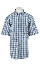 Ariat Pro Men's Blue, White, and Grey Plaid Short Sleeve Western Shirt