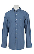 Ariat Pro Men's Blue and White Check Long Sleeve Western Shirt - Big & Tall