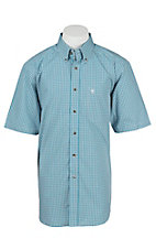 Ariat Pro Men's Turquoise Plaid Short Sleeve Western Shirt
