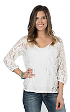 Ariat Women's White with Lace Details 3/4 Sleeve Fashion Top