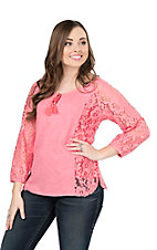 Ariat Women's Pink with Lace 3/4 Sleeves Fashion Top