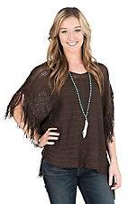 Ariat Women's Brown Knit with Fringe Sides Fashion Poncho Shirt