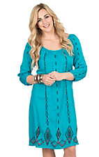 Ariat Women's Turquoise with Brown Embroidery 3/4 Cinched Sleeve Dress