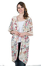 Ariat Women's White Floral Print with Crochet Details 1/2 Sleeve Kimono