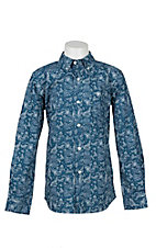 Ariat Boy's Blue and White Paisley Print Long Sleeve Western Snap Shirt