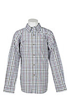 Ariat Boy's Green and Cream Plaid Long Sleeve Western Shirt