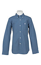 Ariat Boy's Blue and White Mini Plaid Long Sleeve Western Shirt