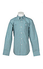 Ariat Boy's Teal and White Paisley Print Long Sleeve Western Snap Shirt