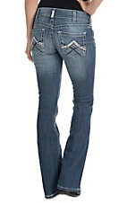 Ariat Women's Light Wash with Distressed Embroidery Open Pocket Low Rise Boot Cut Jeans