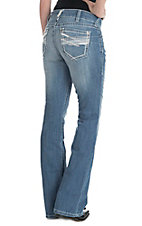 Ariat Women's Light Wash Open Pocket Mid Rise Boot Cut Jeans
