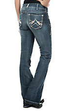 Ariat Women's Medium Wash with Silver Sequins Open Pocket Mid Rise Boot Cut Jeans