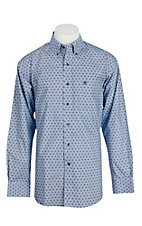 Ariat Men's Light Blue Medallion Print Long Sleeve Western Shirt