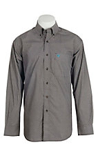 Ariat Men's Brown Mini Print Long Sleeve Western Shirt