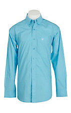 Ariat Men's Blue Mini Print Long Sleeve Western Shirt