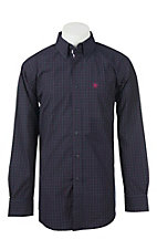 Ariat Men's Navy and Purple Plaid Western Shirt