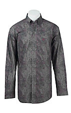 Ariat Men's Grey Paisley Print Western Shirt - Big & Tall