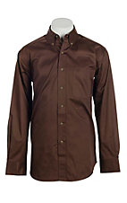Ariat Men's Solid Chocolate Long Sleeve Western Shirt