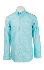 Ariat Men's Turquoise and White Medallion Print Long Sleeve Western Shirt