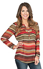 Ariat Women's Willa Red, Orange, Pink and Green Striped with Front Pockets Long Sleeve Chiffon Fashion Top