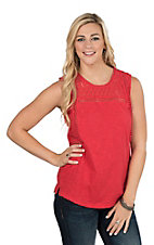 Ariat Women's Red Lace Sleeveless Fashion Top