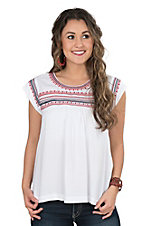 Ariat Women's Cream with Red Embroidered Yoke Cap Sleeve Fashion Top