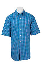 Ariat Men's Blue, Red, and White Plaid S/S Wrinkle Free Western Shirt