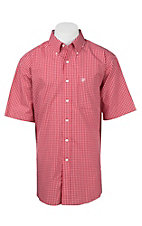 Ariat Men's Red and White Plaid S/S Wrinkle Free Western Shirt