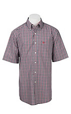 Ariat Men's Red, Black, and White Plaid S/S Wrinkle Free Western Shirt