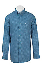 Ariat Men's Blue and White Square Print L/S Western Shirt