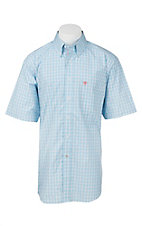 Ariat Pro Series Men's Sky Blue, White, and Red Windowpane Plaid S/S Western Shirt