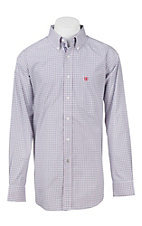 Ariat Pro Series Men's White, Red, and Navy Plaid L/S Western Shirt