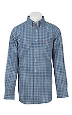 Ariat Pro Series Men's Blue, Red, and White Plaid L/S Western Shirt