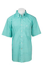 Ariat Men's Turquoise and White Diamond Print S/S Western Shirt