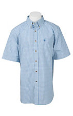 Ariat Pro Series Men's Blue and White Windowpane Plaid S/S Western Shirt