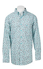Ariat Men's Turquoise and White Paisley Print L/S Western Shirt