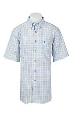 Ariat Pro Series Men's White, Black, and Blue Plaid S/S Western Shirt