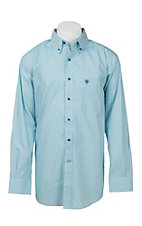Ariat Men's Turquiose and White Mini Print L/S Western Shirt