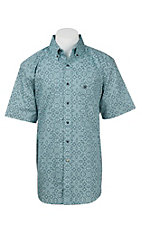 Ariat Men's Turquoise and Navy Aruba Print S/S Western Shirt