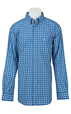 Ariat Pro Series Men's Blue and White Plaid L/S Western Shirt