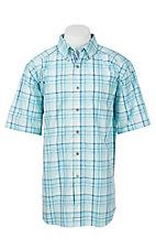 Ariat Pro Series Men's White, Turquoise, and Yellow Plaid S/S Western Shirt