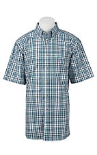 Ariat Pro Series Men's Black, Turquiose, and White Plaid S/S Western Shirt
