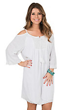 Ariat Women's White with Lace and Cold Shoulder 3/4 Sleeve Dress