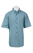 Ariat Pro Series Men's Turquoise and Navy Check S/S Western Shirt