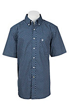 Ariat Men's Blue and White Square Print S/S Western Shirt
