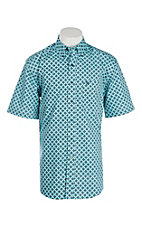 Ariat Men's Aqua Miami Medallion Print Short Sleeve Western Shirt