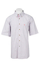 Ariat Pro Series Men's Red and White Windowpane Plaid S/S Western Shirt