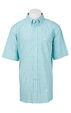 Ariat Pro Series Men's Turquoise and White Windowpane Plaid S/S Western Shirt