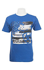 Ariat Boy's Blue with Patriotic Logo Short Sleeve T-Shirt